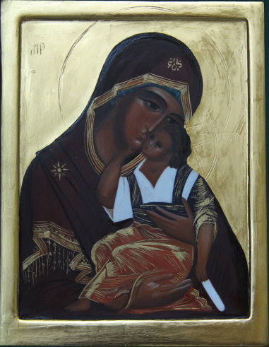 The Mother of God. Wood , gesso, tempera, gilding